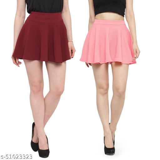 N-Gal Polyester Spandex  Flared Knit Skater Short Mini Skirt-Maroon,LightPink_Pack of 2