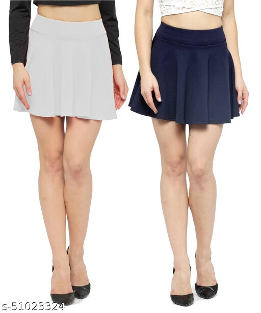 N-Gal Polyester Spandex  Flared Knit Skater Short Mini Skirt-White,NavyBlue_Pack of 2