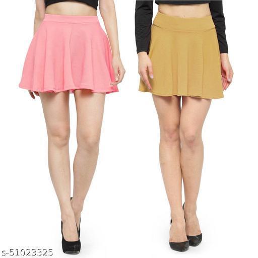 N-Gal Polyester Spandex  Flared Knit Skater Short Mini Skirt-LightPink,Beige_Pack of 2