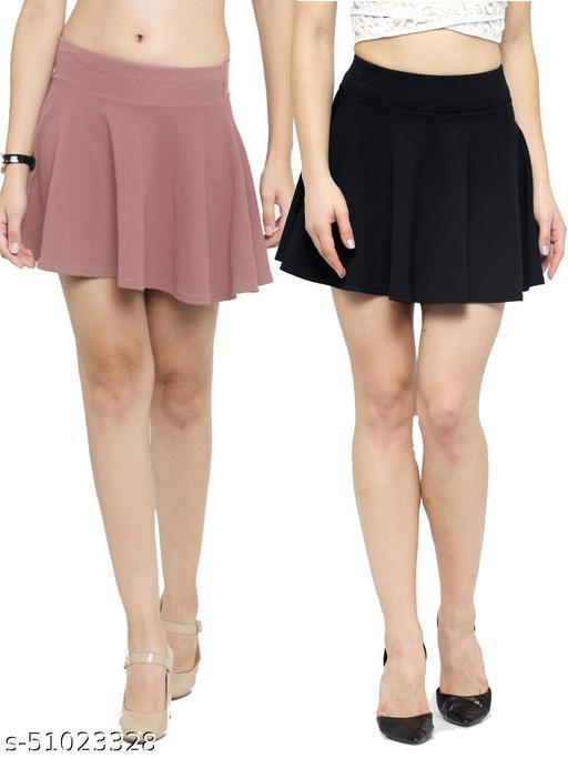 N-Gal Polyester Spandex  Flared Knit Skater Short Mini Skirt-Salmon,Black_Pack of 2