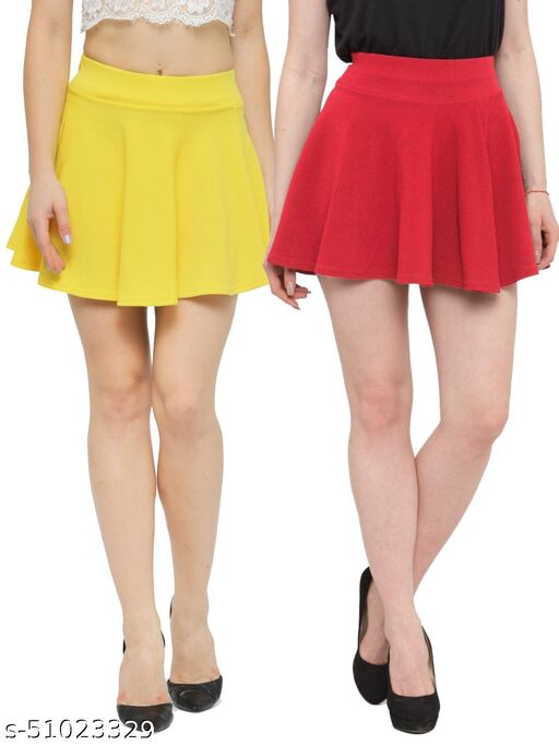 N-Gal Polyester Spandex  Flared Knit Skater Short Mini Skirt-Yellow,Coral_Pack of 2