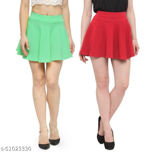 N-Gal Polyester Spandex  Flared Knit Skater Short Mini Skirt-SeaGreen,Coral_Pack of 2