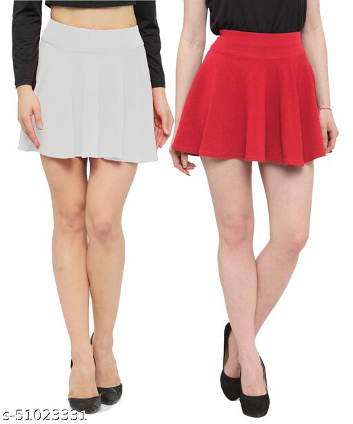 N-Gal Polyester Spandex  Flared Knit Skater Short Mini Skirt-White,Coral_Pack of 2