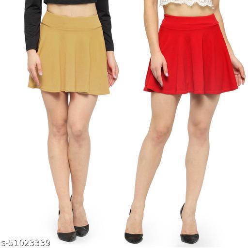 N-Gal Polyester Spandex  Flared Knit Skater Short Mini Skirt-Beige,Red_Pack of 2