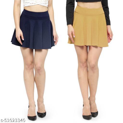 N-Gal Polyester Spandex  Flared Knit Skater Short Mini Skirt-NavyBlue,Beige_Pack of 2