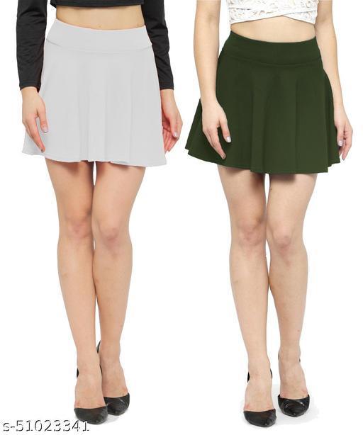 N-Gal Polyester Spandex  Flared Knit Skater Short Mini Skirt-White,DarkGreen_Pack of 2
