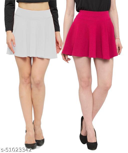 N-Gal Polyester Spandex  Flared Knit Skater Short Mini Skirt-White,Magenta_Pack of 2