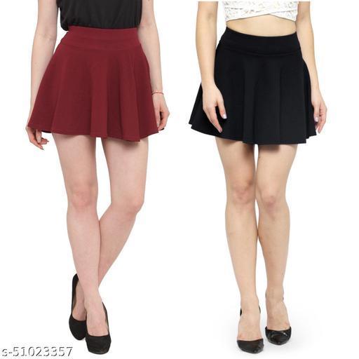 N-Gal Polyester Spandex  Flared Knit Skater Short Mini Skirt-Maroon,Black_Pack of 2