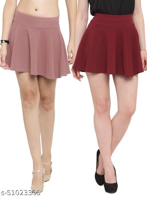 N-Gal Polyester Spandex  Flared Knit Skater Short Mini Skirt-Salmon,Maroon_Pack of 2