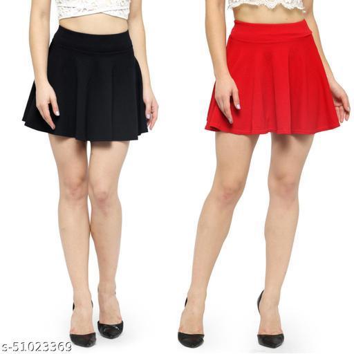 N-Gal Polyester Spandex  Flared Knit Skater Short Mini Skirt-Black,Red_Pack of 2