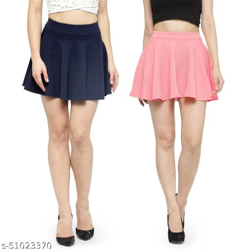 N-Gal Polyester Spandex  Flared Knit Skater Short Mini Skirt-NavyBlue,LightPink_Pack of 2