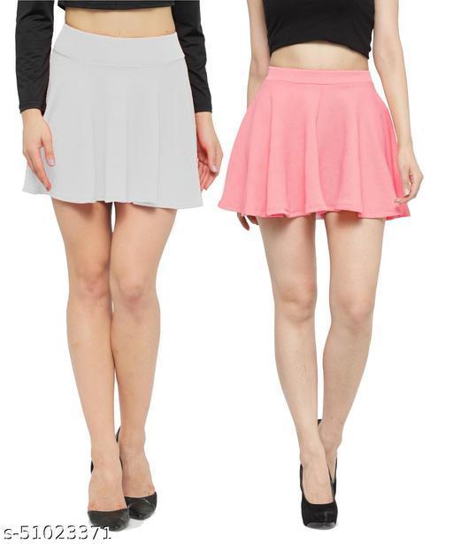 N-Gal Polyester Spandex  Flared Knit Skater Short Mini Skirt-White,LightPink_Pack of 2
