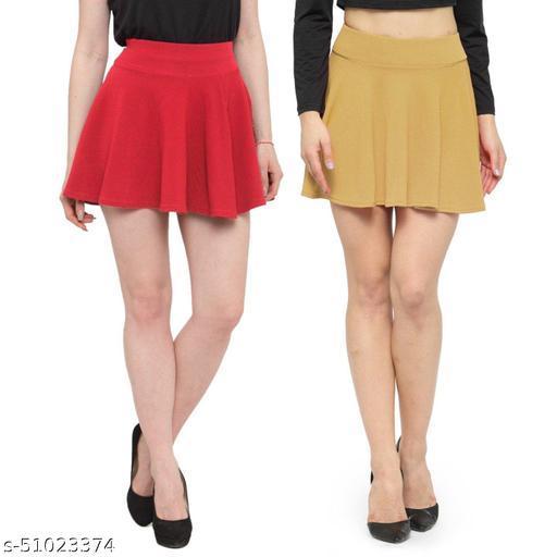 N-Gal Polyester Spandex  Flared Knit Skater Short Mini Skirt-Coral,Beige_Pack of 2
