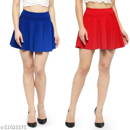 N-Gal Polyester Spandex  Flared Knit Skater Short Mini Skirt-RoyalBlue,Red_Pack of 2