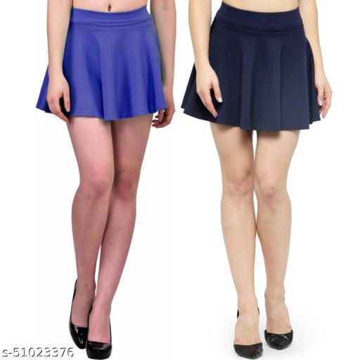 N-Gal Polyester Spandex  Flared Knit Skater Short Mini Skirt-RoyalBlue,Blue_Pack of 2