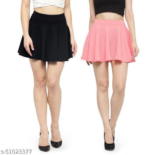 N-Gal Polyester Spandex  Flared Knit Skater Short Mini Skirt-Black,LightPink_Pack of 2