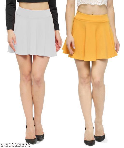 N-Gal Polyester Spandex  Flared Knit Skater Short Mini Skirt-White,Mustard_Pack of 2