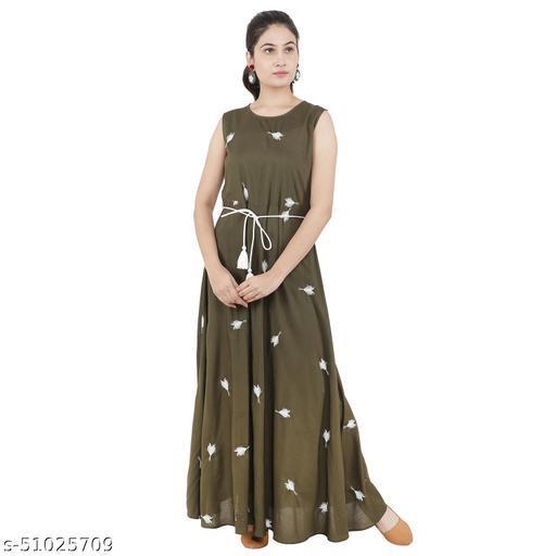 Litlu Dark Green Embroidered Woman Dress
