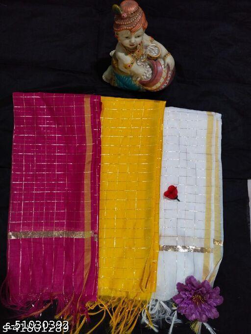 Deetya Art's Presents Cotton Checkerd Stylish Dupattas for Women