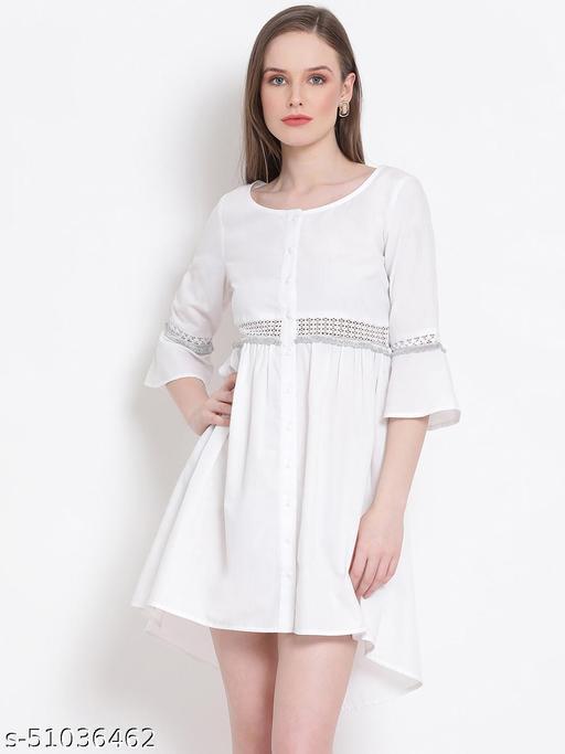 DRAAX FASHIONS Women White plain dress