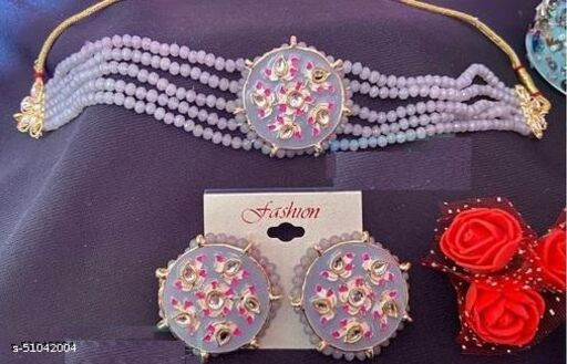 KLENOT Grey Colour Pearls Crystal Choker Set With Earrings   Jewellery Set