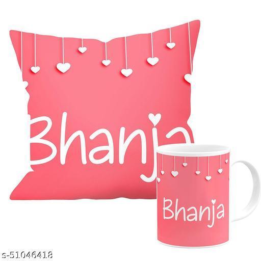 Chhaap Bhanja Heart Design White Printed 1(Mug 350ml & Satin Cushion Cover with Filler(12X12) Inch, (30X30 Cms)) Gift For Happy Birthday & Happy Anniversary Nephew Bhanja_Heart BG_1 (Cushion+Mug)_Tny