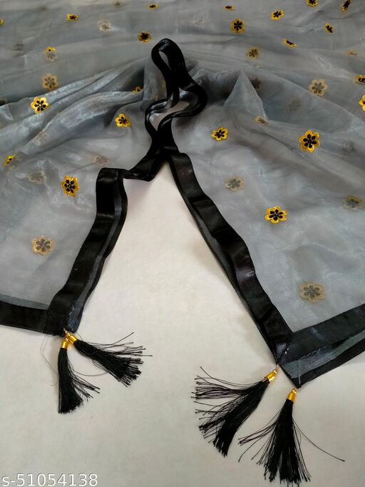 New Grey Color Dupatta With Border Lace