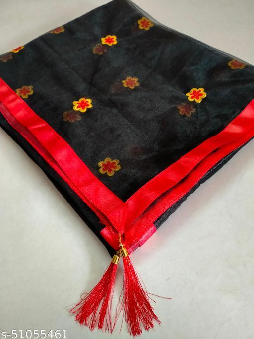 Black Color Dupatta With Border Lace