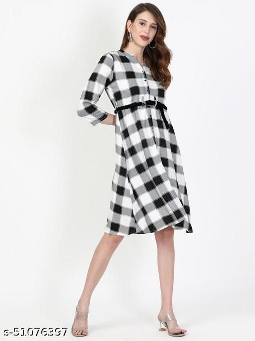 Women Textile Full Sleeve Mid Frock (Black)