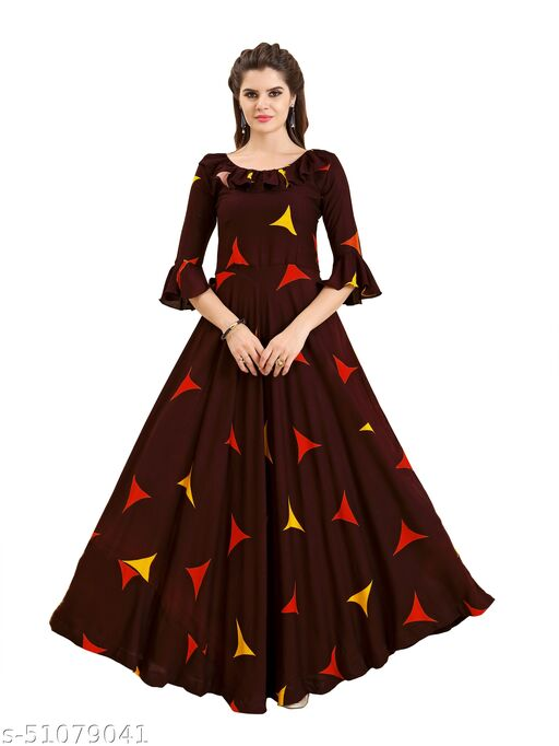 Women's Rayon Fabric Classic A-Line Gown/Rayon Anarkali Kurti/A-Line Gown/Rayon Hand Work Gown/Regular Kurti