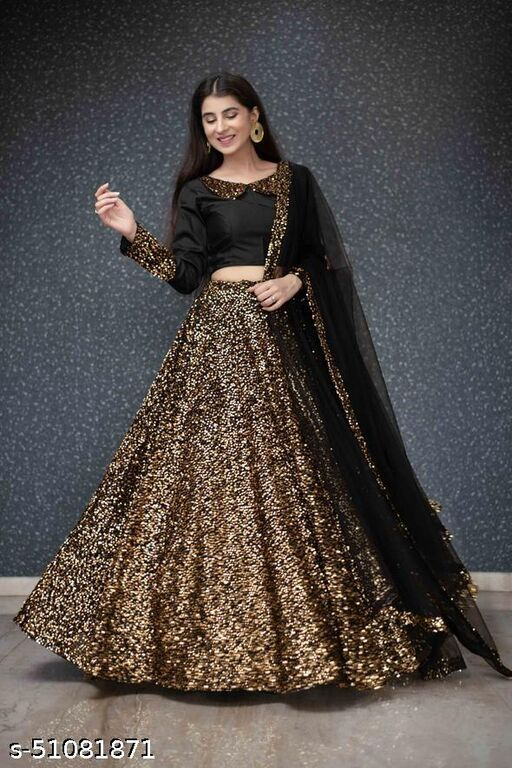 Golden Viscose Velvet Semi-stitched Lehenga Choli LC 288