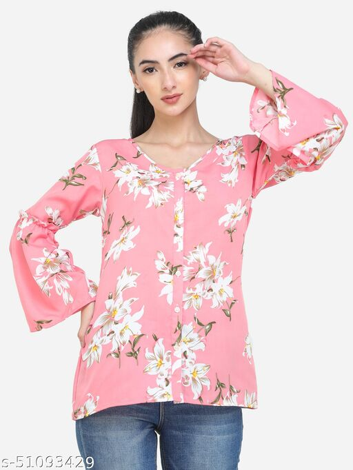 Adyuth Women Pink Floral V-neck Shirt with ruffled sleeves