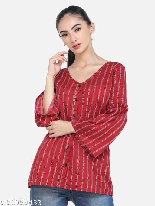 Adyuth Women Red Striped V-neck Shirt with ruffled sleeves
