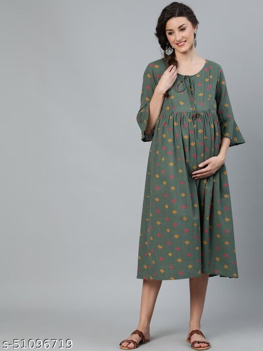 Green Printed Maternity Dress