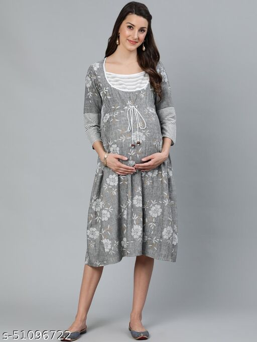 Grey & White Floral Printed Maternity Dress