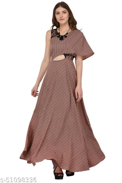 Raas Women's Peach Crepe Cut-Out Flared Maxi Dress