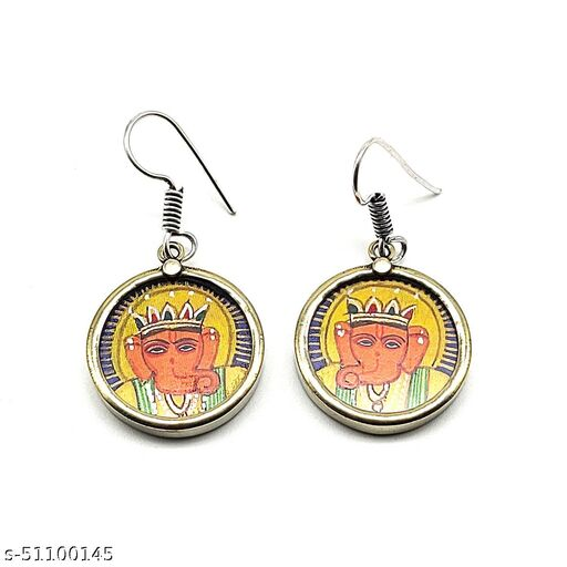 Satyam's Glass Lord Ganesha Hand-painted a pair of Earrings