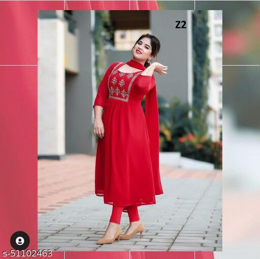 Beautiful Red colored Embrodeiry top and bottom set