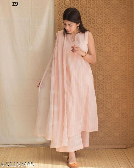 Atractive Peach colred Embrodeiry Top and Bottom set
