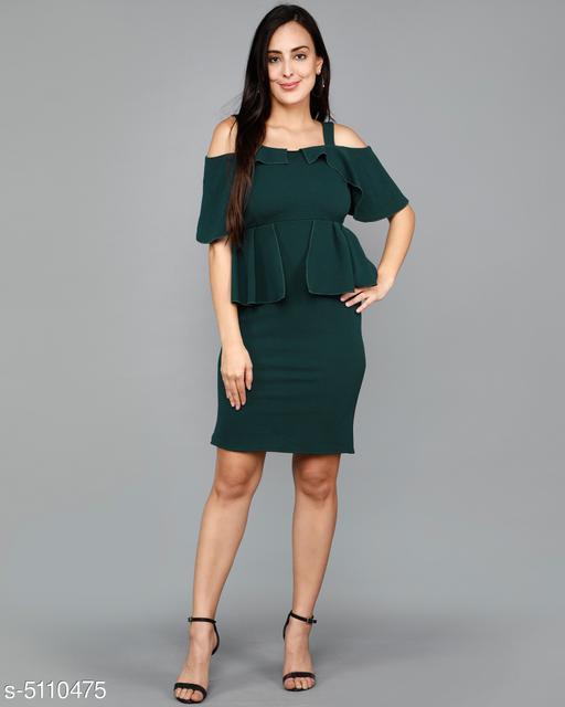 Women's Solid Green Cotton Blend Dress