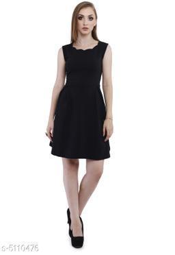 Women's Solid Black Cotton Blend Dress