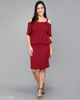 Women's Solid Maroon Cotton Blend Dress