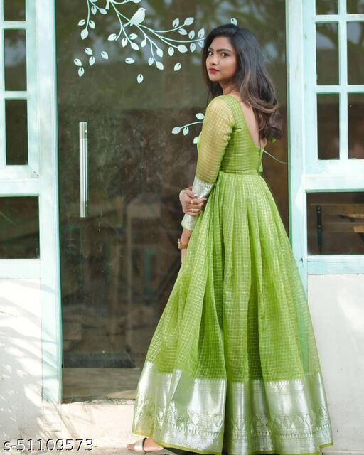 Exceptional Mahendi Green Colored Partywear Organza Jacquard Gown