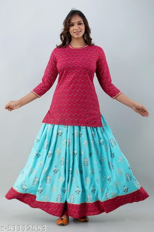 Rayon Gota Lace Work Kurti with Skirt