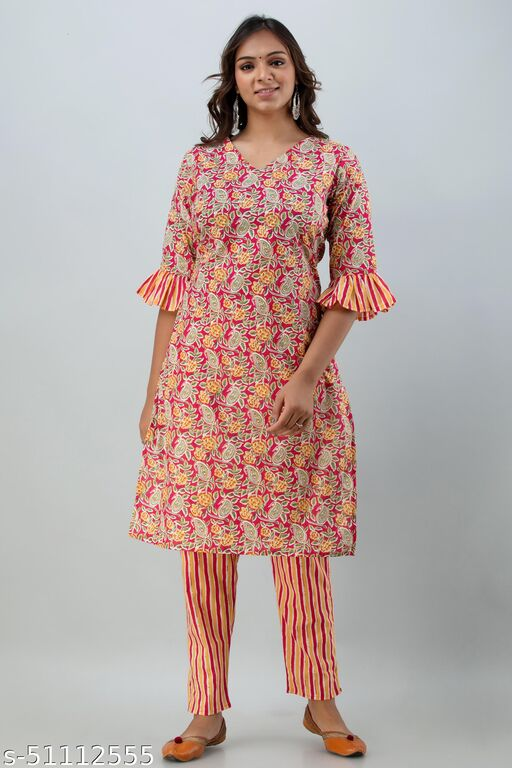 Cotton Frill Sleeve Kurti with Stripes Pritned Pant