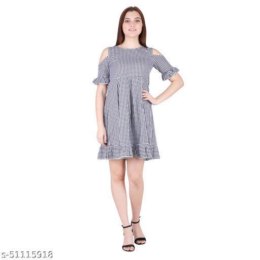 Litlu Black Check Cotton cold shoulder Dress