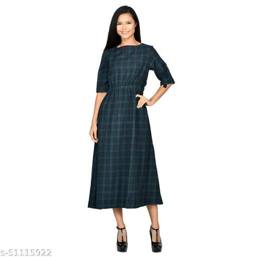 Litlu Small Check Cotton Long Dress