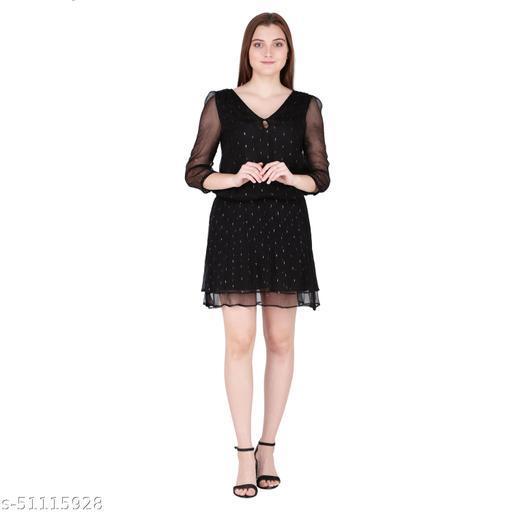 Litlu Black lurex chiffon dress