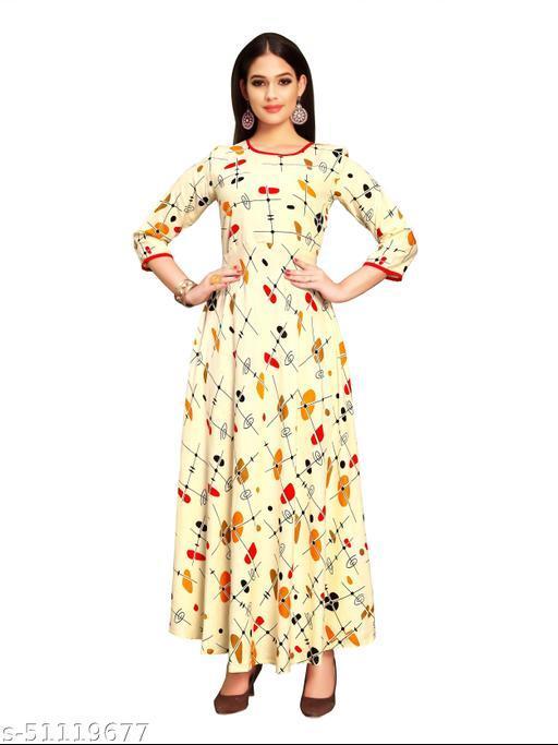 Designer Print Ankle Length Rayon Anarkali Gown/Dress for Women