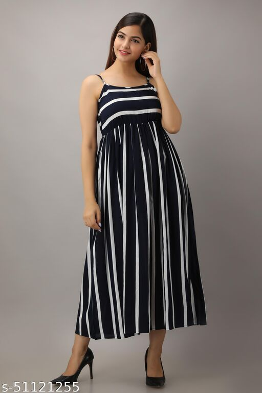 Women's Dark Blue Striped A-Line Dress Ankle Length For Formal / Casual